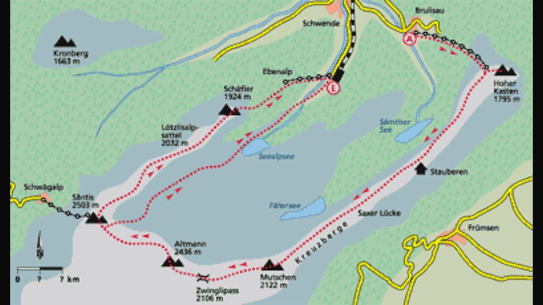 Appenzell Tour 5 Karte