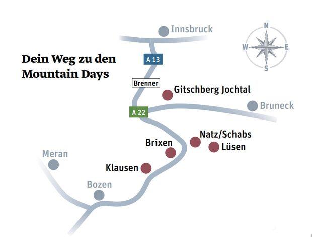 Dein Weg zu den Mountain Days Südtirol