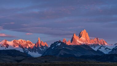 First light on Mount Fitz Roy and Cerro Torre in Los Glaciares National Park