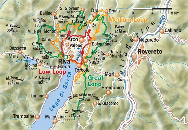 Gardasee Loops - Übersichtskarte