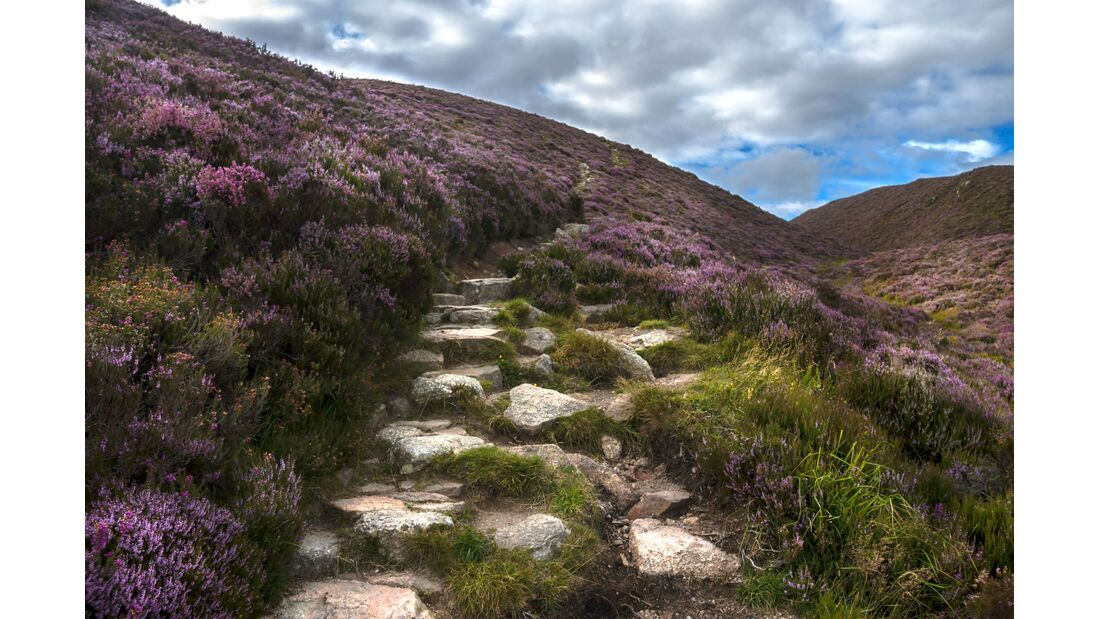 Hiking trail in Cairngorms National Park. Aberdeenshire, Scotland