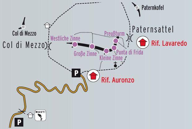 KL Info Karte Drei Zinnen Dolomiten