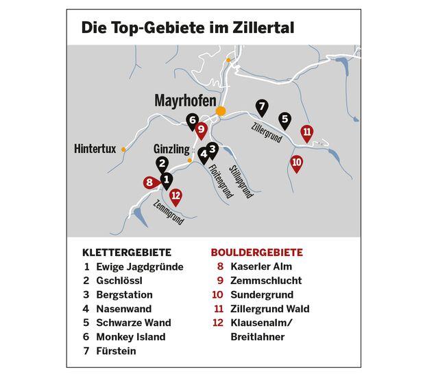KL Karte Klettergärten und Bouldergebiete Zillertal