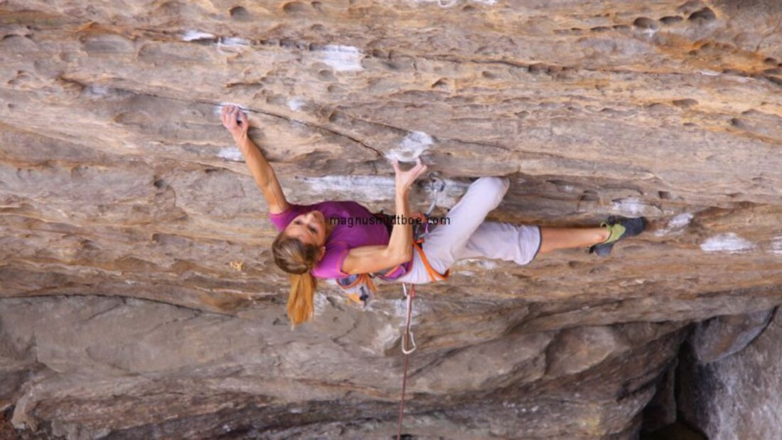 KL Sasha Digiulian in Lucifer 8c+ Red River Gorge