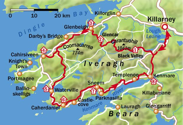 Kerry Way Irland - Etappenübersicht