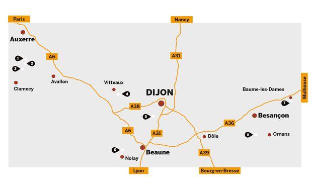 Klettergebiete rund um Dijon