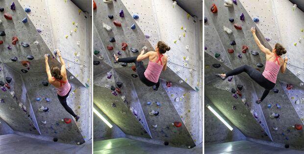 Kletterjargon: Pogobein im Einsatz