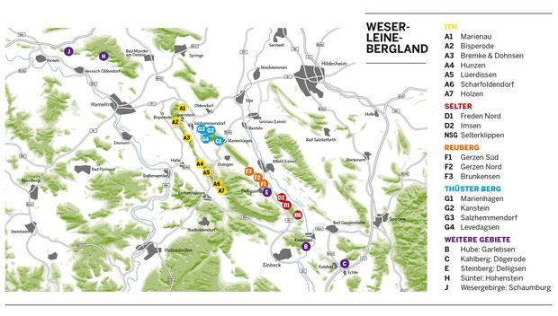 Klettern im Weser-Leine-Bergland: Klettergebiete im Überblick