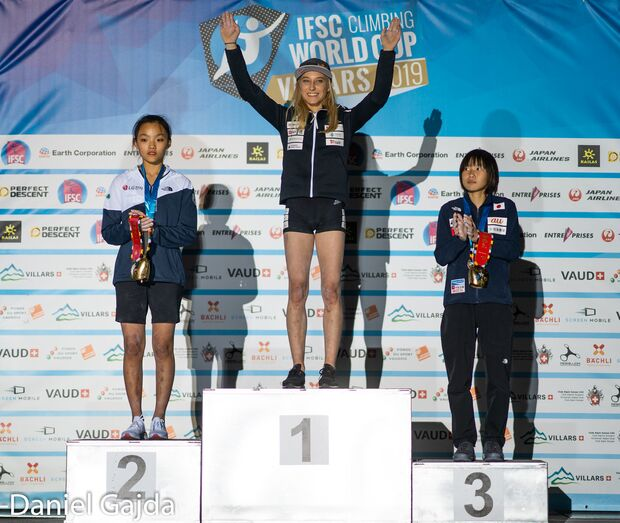 Lead-Weltcup Villars 2019 Podium: Chaehyun Seo, Janja Garnbret und Ai Mori