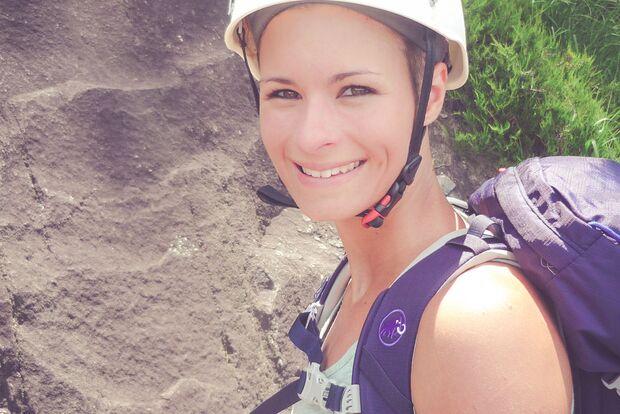 Myriam auf Tour mit dem Mammut Trea Guide 25