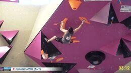 Nicolai Uznik beim European Boulder Cup Klagenfurt 2021