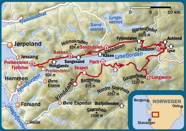OD 0117 Norwegen Lysefjordrunde Karte Map
