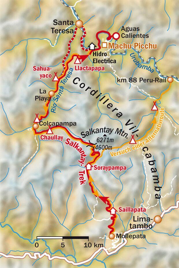 OD 0211 Reise Machu Picchu Salkantay Trek Karte