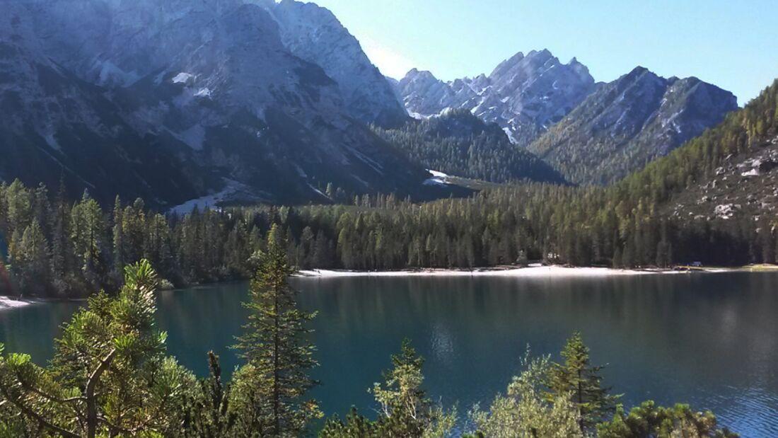 OD 0414 Südtirol Sextener Dolomiten Pragser Wildsee Südufer