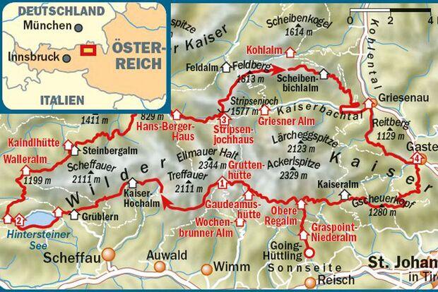 OD 0416 Wilder Kaiser Trekking Österreich Map