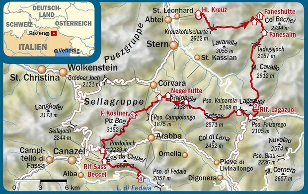 OD 0516 Dolomiten Hüttentour Map