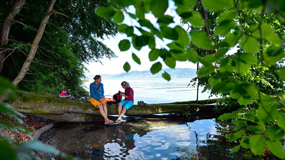 OD 0616 Kompass Bodensee Wanderweg Seegang Pause Wasser See