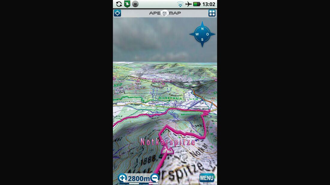 OD 0812 GPS-Navigation Handy Smartphone App Apemap