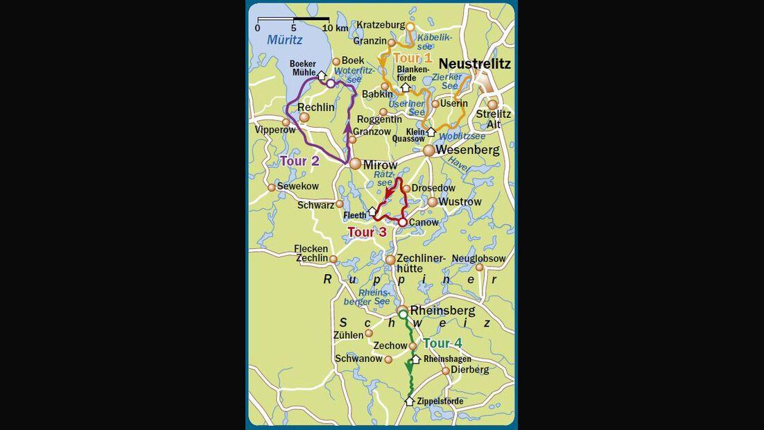 OD 0816 Mecklenburg Paddeln Kanu Karte Map Touren