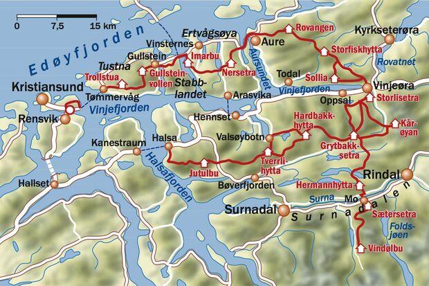 OD 1214 Norwegen Trek Fjordruta Karte Map Etappen