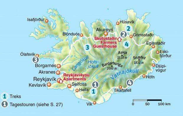 OD 1216 Island Map Karte Wanderungen