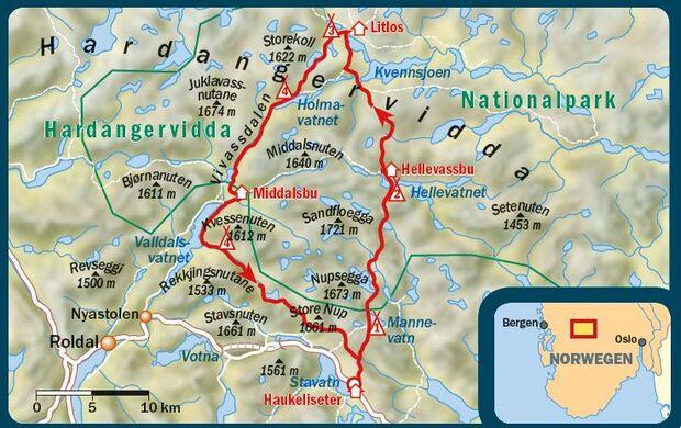 OD 2016 Trekking mit Hund Hardangervidda Norwegen Karte