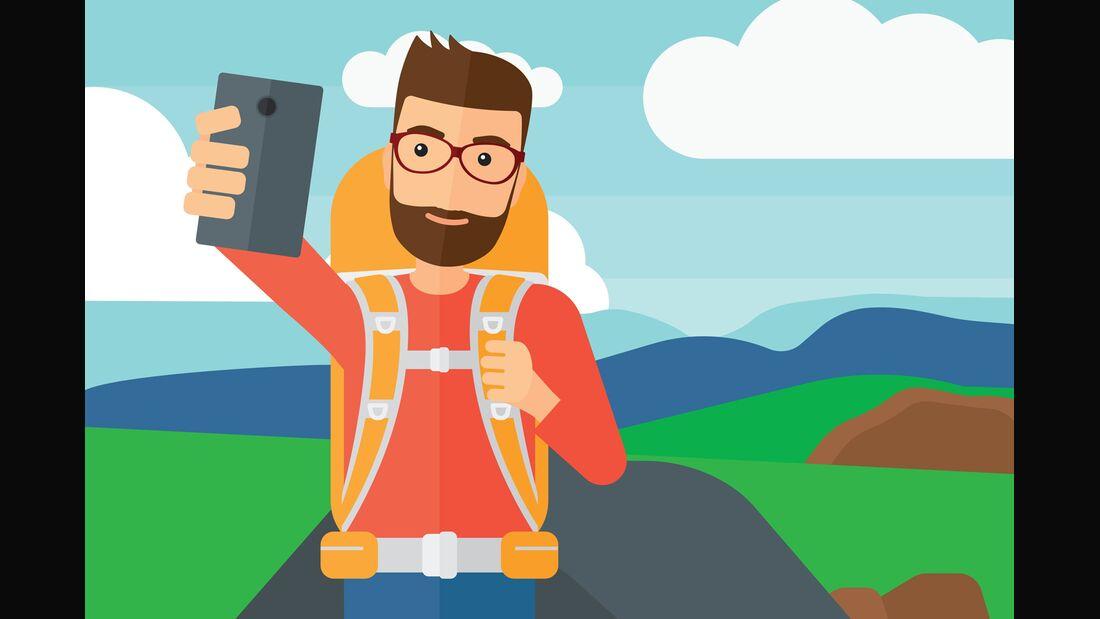 OD 2018 GPS Smartphone Handy Wandern Navigation Orientierung Illu