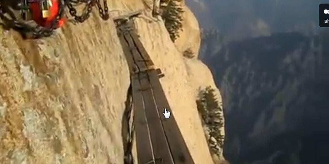 OD China Klettersteig Extrem Wanderweg Abgrund