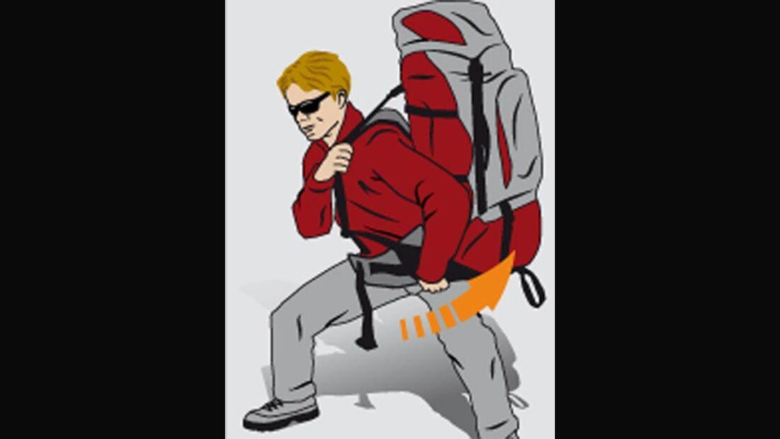 OD Rucksack aufsetzen auf die Schulter