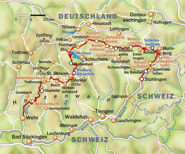 OD-Schluchtensteig Schwarzwald Übersicht