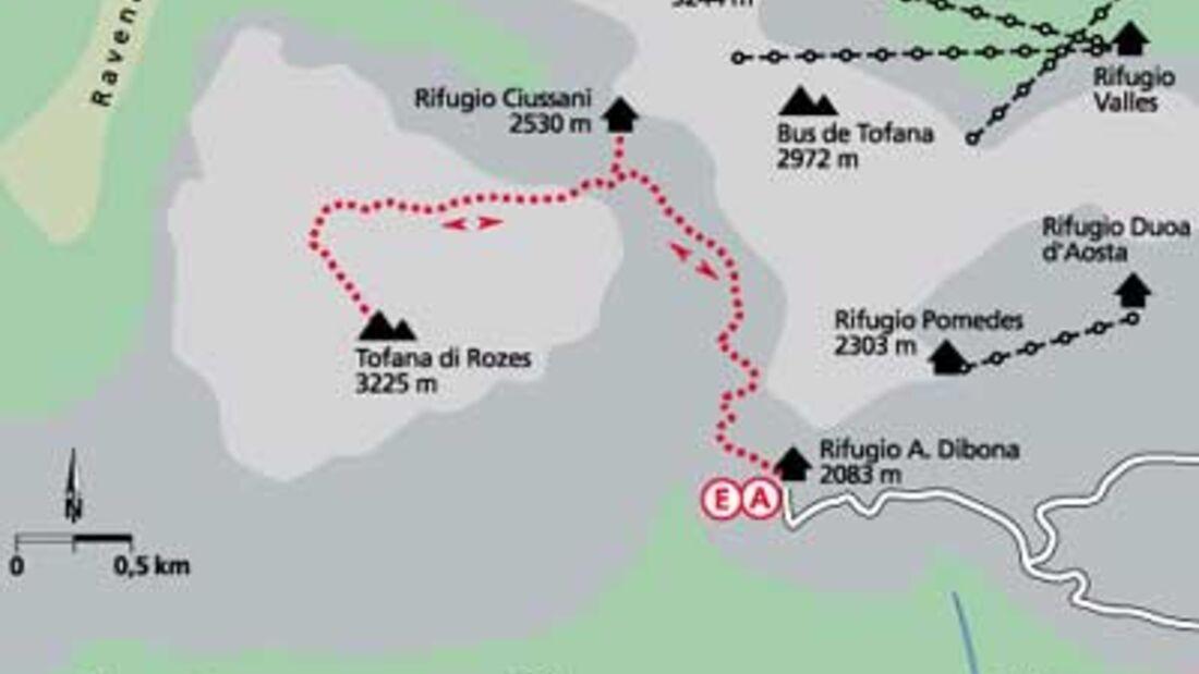 Tour 1: Auf die Tofana di Rozes (3225 m)