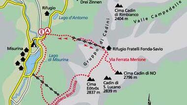 Tour 1: Cadini-Spitzen: Via Ferrata Merlone
