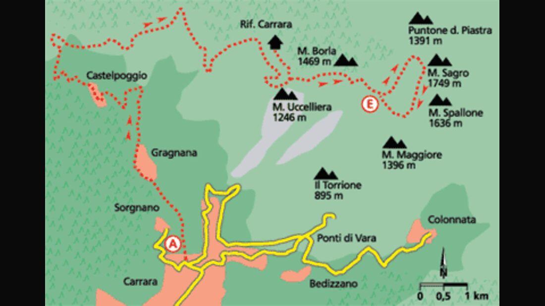 Tour 1: Hoch über Carrara