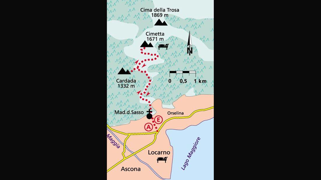 Tour 1  Locarno von oben karte