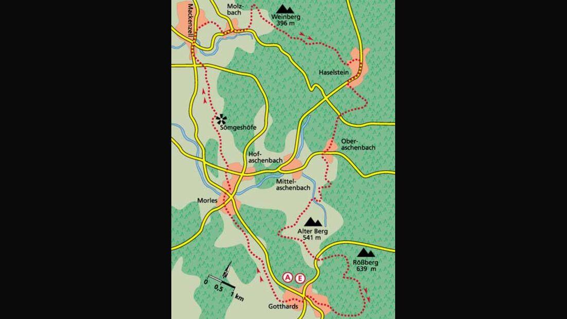 Tour 4   Grenzerfahrungen in der Kuppenrhön Karte