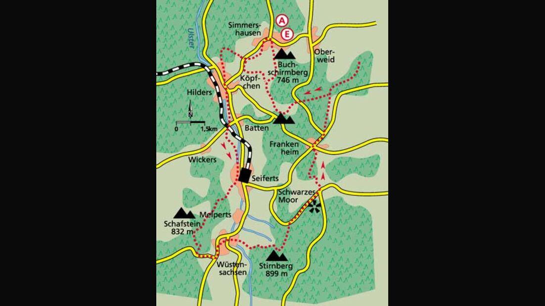 Tour 5  Drei auf einen Streich Karte