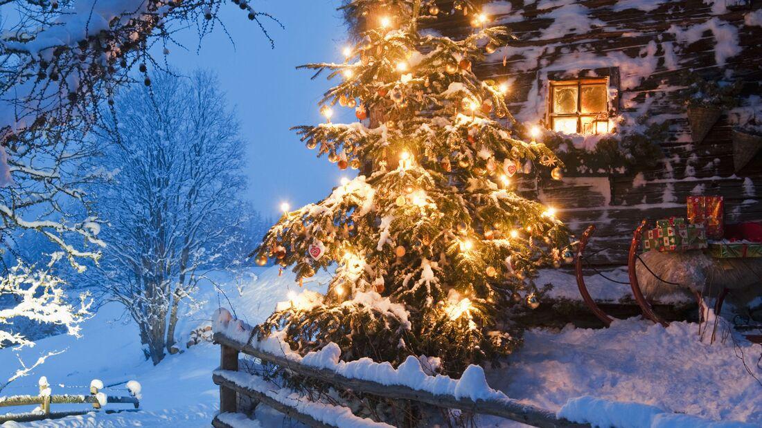 Weihnachten Hütte Schnee